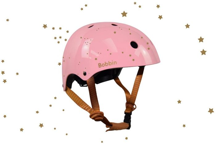 Casco Bobbin rosa estrellas doradas